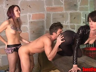 Two Hotties Lady-love a Bloke with the addition of Feed Him Cum STRAPON FEMDOM